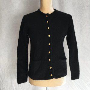 Karen Scott Black Pure Wool Button Front Sweater